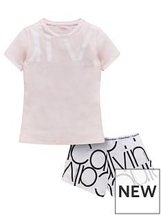 calvin-klein-girls-logo-printed-short-pyjama-set-white