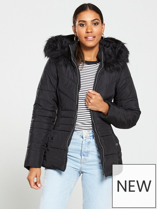d3dce9a7 V by Very Short Faux Fur Trim Padded Jacket - Black | very.co.uk