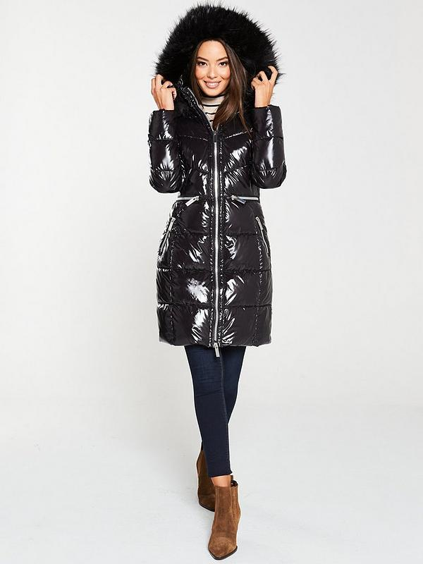 V By Very Long High Shine Padded Coat, Large Size Faux Fur Coats