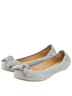 732bce120 Accessorize Olivia Suede Bow Ballerina Flats - Grey