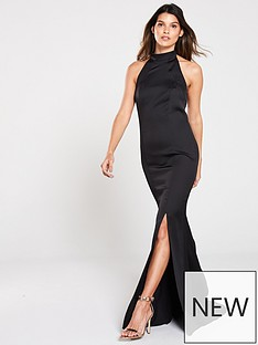 v-by-very-high-neck-fish-tail-maxi-dress