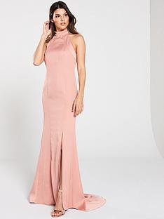v-by-very-high-neck-fish-tail-maxi-dress-blush