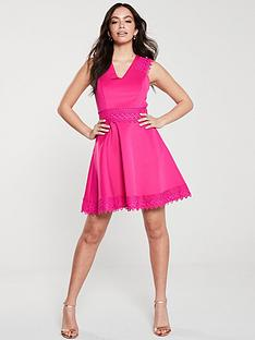 ted-baker-elaynanbspcrochet-lace-skater-dress-bright-pink