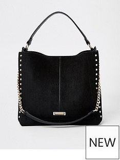 river-island-river-island-stud-side-slouch-bag-black
