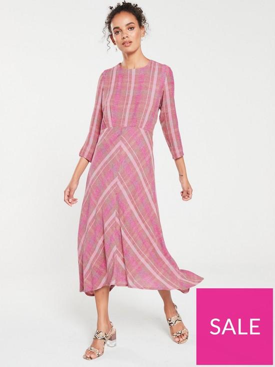 4b419ed56 Mango Wool Mix Check Midi Dress - Pink   very.co.uk