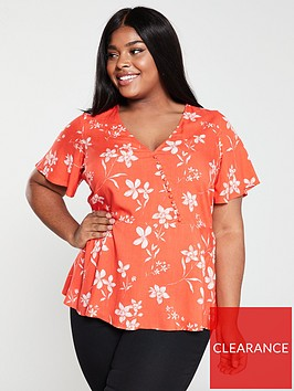 v-by-very-curve-button-detail-blouse-print
