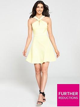 ted-baker-freeda-twist-neck-skater-dress-yellow
