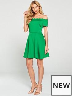 f17109a9557 Ted Baker Fellama Bardot Scallop Skater Dress - Bright Green