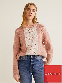 mango-contrast-knit-jumper-pink