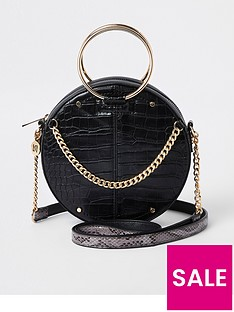 eb288868ab97 River Island River Island Metal Handle Circle Bag - Black
