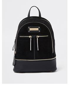 b61830983aaa River Island Medium Zip Backpack - Black