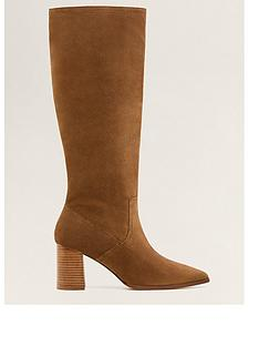af2a5356cdb Mango Leather Calf Boots - Brown