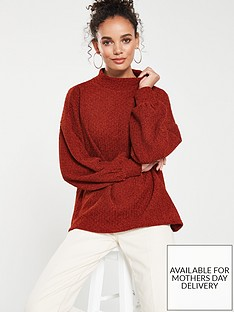 mango-chenille-split-balloon-sleeve-jumper-brown
