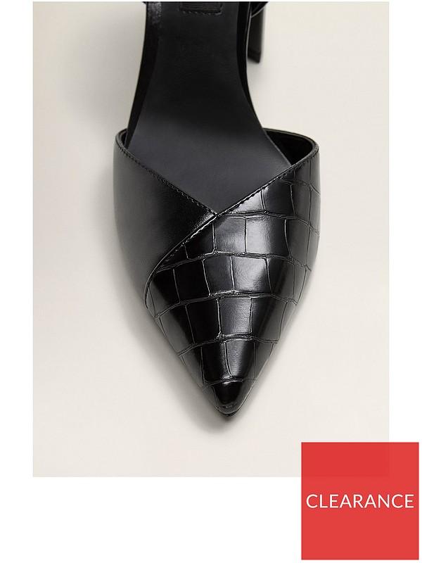 006f35fd585 Faux Croc Pointed Block Heel Shoes - Black