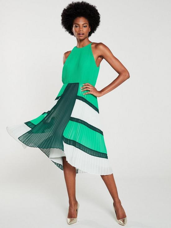 ae55b0e0a1e Ted Baker Nellina Dip Hem Pleated Dress - Bright Green   very.co.uk