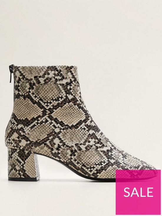a853eabbee96 Mango Snake Print Ankle Boots - Light Beige | very.co.uk