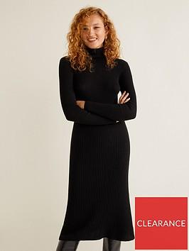 mango-jersey-rib-midi-dress-black