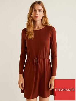 mango-drawstring-waist-dress-brown