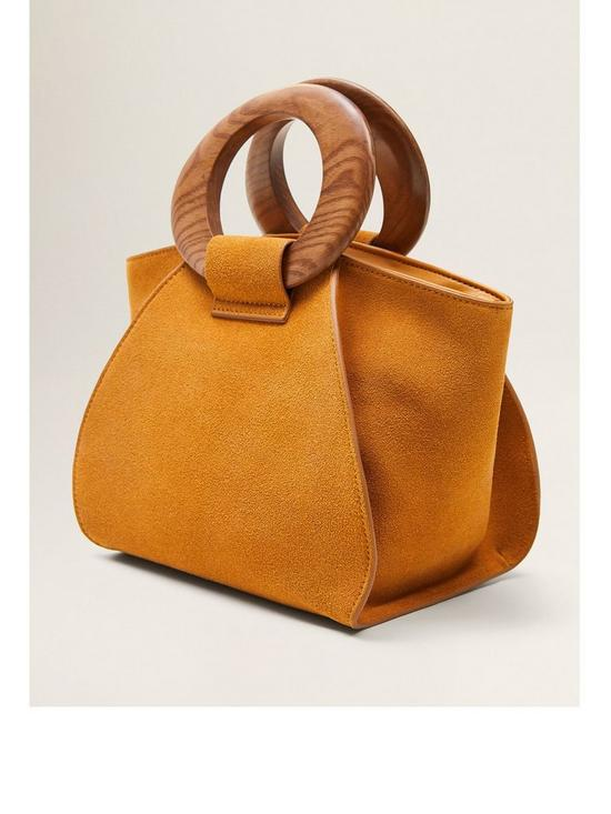 295b285ce Mango Suede Wooden Handle Bag - Yellow | very.co.uk