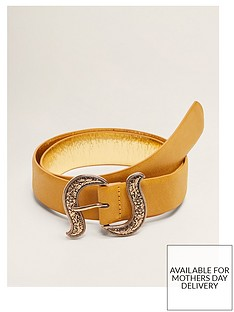 mango-faux-leather-metal-detail-belt-yellow