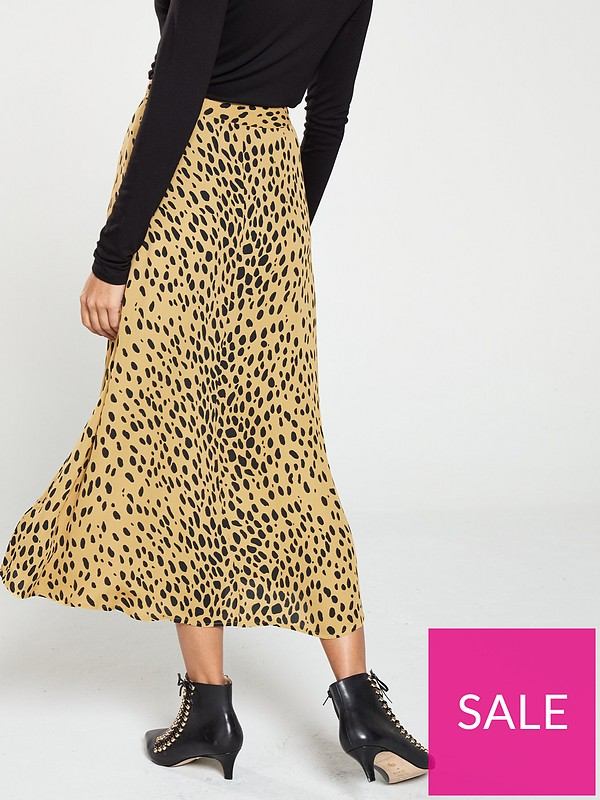 3b8615218644 WHISTLES Animal Print Midi Skirt - Cream | very.co.uk
