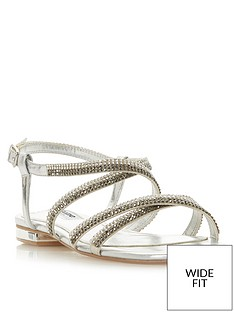 027905aaed9f Dune London Wide Fit Neevie Diamante Flat Sandal - Silver