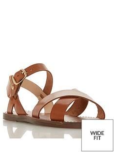 1d23f529d50e Dune London Wide Fit Lavell Cross Vamp Flat Sandals - Tan