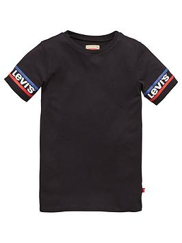 levis-girls-short-sleeve-logo-arm-t-shirt-dress-black