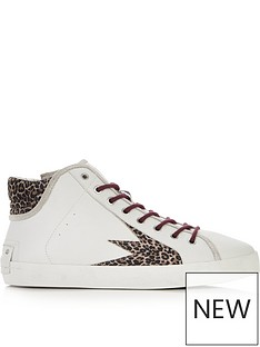 fc3b6717 CRIME LONDON Faith Hi Explosion Leopard High Top Trainers - White