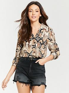 b1e455e857569 Michelle Keegan Pocket Front Open Collar Shirt - Snake Print
