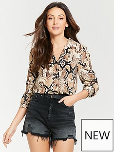 85617903df Michelle Keegan Pocket Front Open Collar Shirt - Snake Print