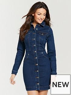 michelle-keegan-fitted-denim-mini-dress-indigo