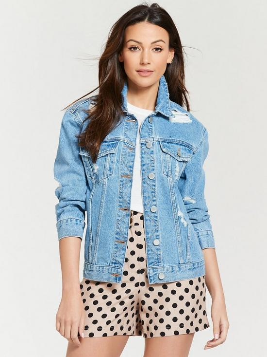 75d7a0d9ec Michelle Keegan Ripped Detail Denim Jacket - Blue Wash | very.co.uk