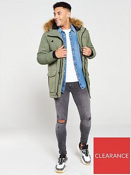 very-man-faux-fur-trim-parka-khakii