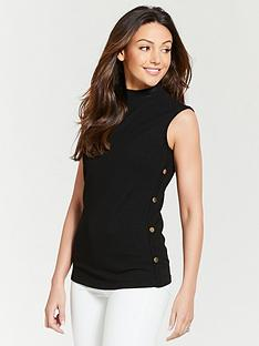 michelle-keegan-button-side-rib-jersey-top-black