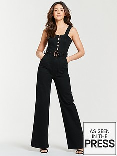 4ad52407c5a Michelle Keegan Wide Leg Denim Jumpsuit - Black