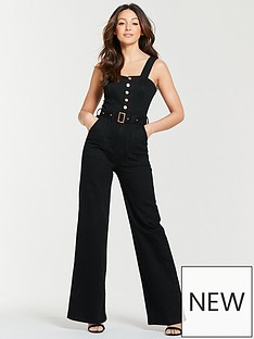michelle-keegan-wide-leg-denim-jumpsuit-black