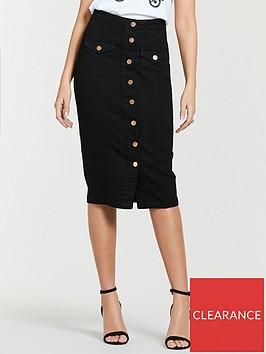 michelle-keegan-button-front-denim-pencil-skirt-black