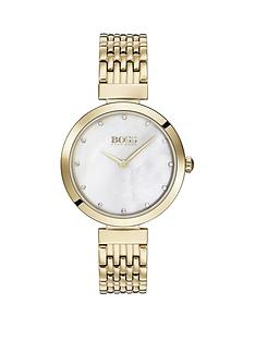 07aa2933ec25 BOSS Boss Celebration White Crystal Set Dial Gold Stainless Steel Bracelet Ladies  Watch