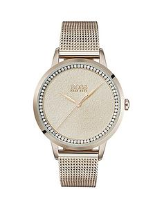 474d6bf693ab BOSS Boss Twilight Blush Sparkle Crystal Set Dial Carnation Gold Stainless  Steel Mesh Strap Ladies Watch