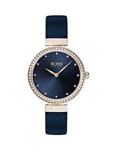 b3ed9b0ba7 BOSS Boss Celebration Blue Sunray Crystal Set Rose Gold Dial Blue Leather  Strap Ladies Watch