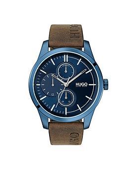 hugo-hugo-discover-blue-multi-dial-brown-logo-embossed-leather-strap-mens-watch