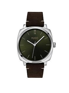 hugo-hugo-own-green-and-silver-box-case-dial-brown-leather-strap-mens-watch