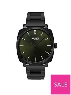 hugo-hugo-own-green-and-black-box-case-dial-black-ip-stainless-steel-bracelet-mens-watch