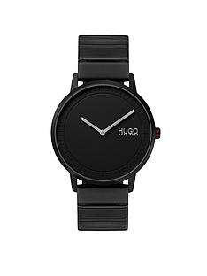 hugo-hugo-echo-black-round-dial-black-stainless-steel-bracelet-mens-watch