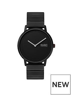 hugo-hugo-echo-black-round-dial-black-stainless-steel-bracelet-mens-watch