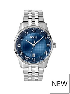 boss-boss-master-blue-textured-date-dial-stainless-steel-bracelet-mens-watch