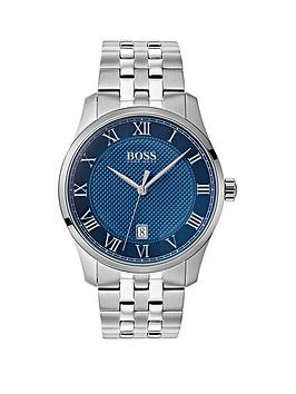 boss-master-blue-textured-date-dial-stainless-steel-bracelet-mens-watch