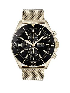 f2d0d98dd1fa3 BOSS Boss Ocean Edition Black and Gold Detail Chronograph Dial Gold Mesh  Stainless Steel Strap Mens Watch