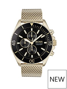 boss-boss-ocean-edition-black-and-gold-detail-chronograph-dial-gold-mesh-stainless-steel-strap-mens-watch